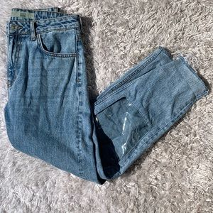 Topshop Moto Clear Knee Mom Jeans Cropped 28